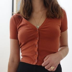 Urban Outfitters Burnt Orange Collared Button Down